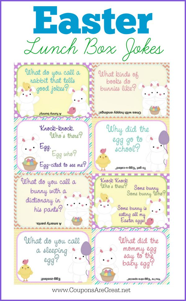 These adorable Easter Lunch Box jokes are the perfect addition to your kid's lunch boxes...shoes...or even pillows!