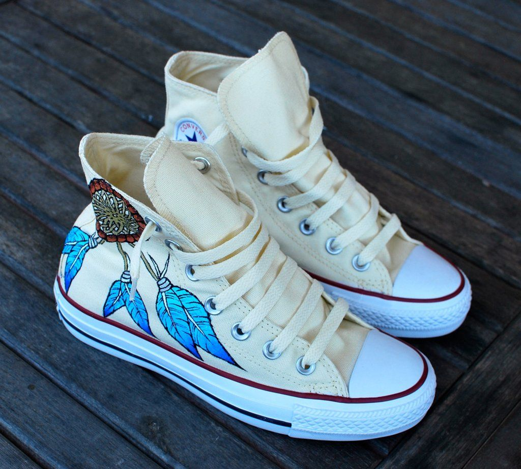 d6786b986591 Custom Hand Painted Converse Sneakers - Dream Catcher and Indian Chief – B  Street Shoes