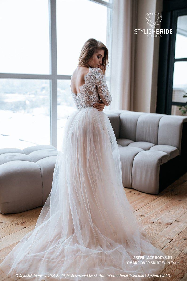 Aster Two Piece Wedding Tulle Dress, Bodysuit, Lace