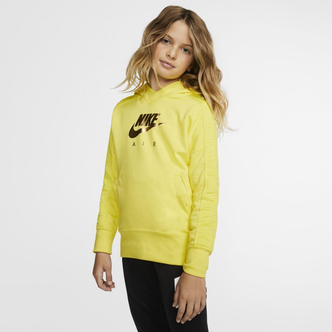 Nike Air Big Kids Girls Pullover Hoodie In Yellow Modesens Girls Pullovers Girls Fashion Tween Nike Air Hoodie [ 1080 x 1080 Pixel ]