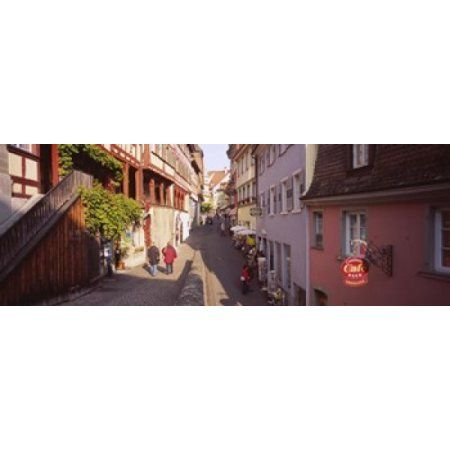 Houses On Both Sides Of An Alley Lake Constance Meersburg Baden-Wurttemberg Germany Canvas Art - Panoramic Images (18 x 7)