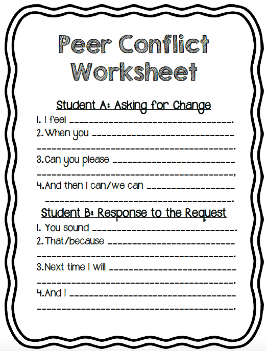 PEER MEDIATION/CONFLICT WORKSHEET! Simple Tool For Students ...