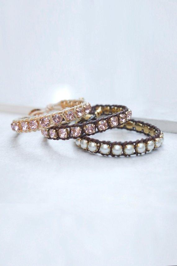Leather Macrame Bracelet For Women Swarovski