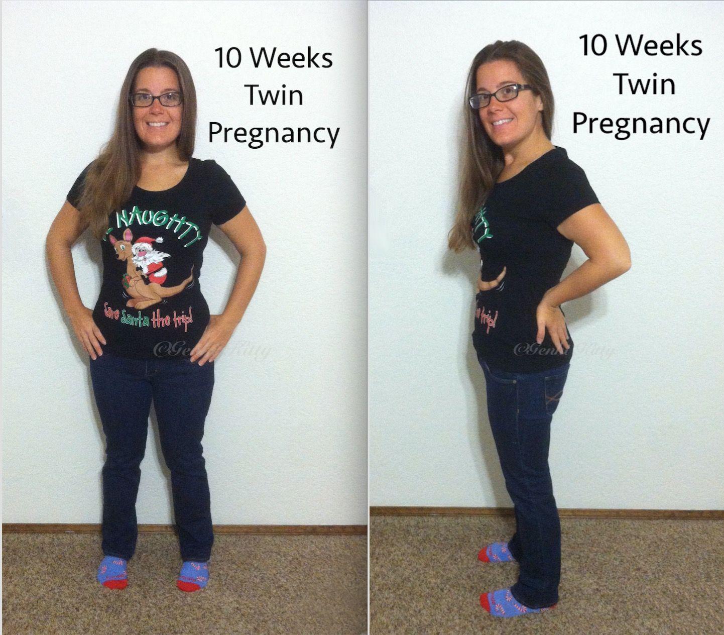Vegan Twin Pregnancy Belly Bump Shot 10 weeks