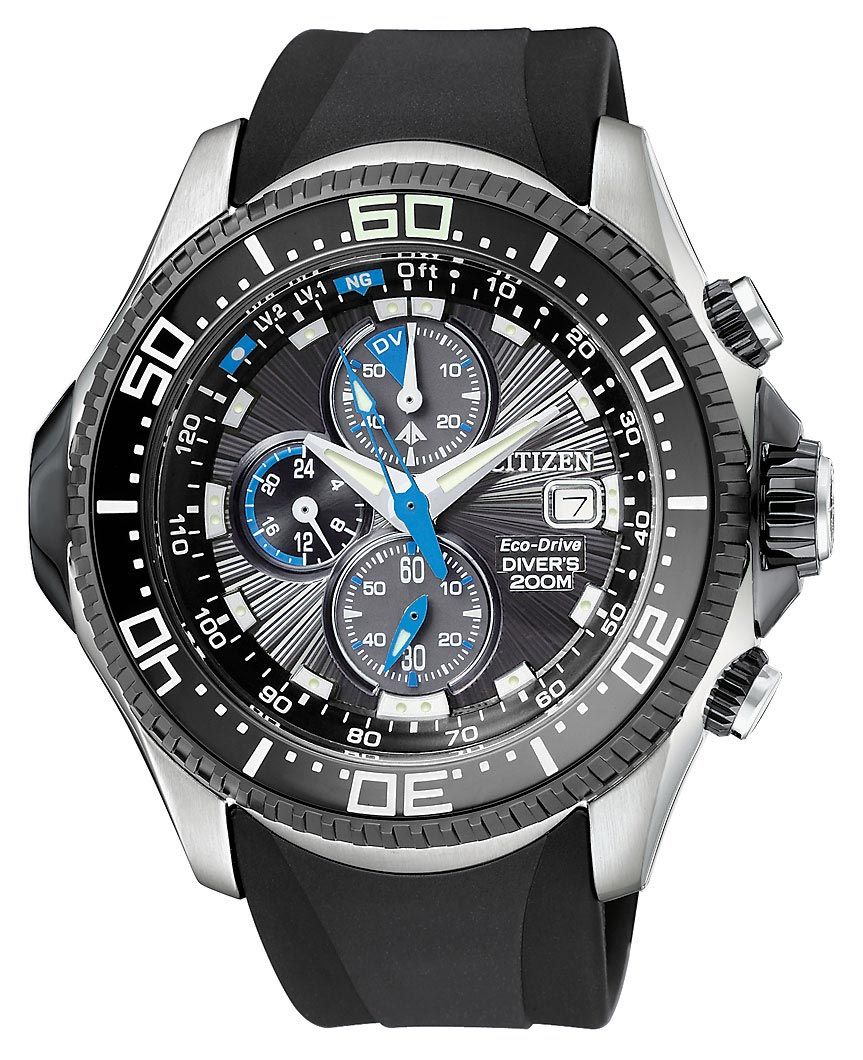 d5f1dd9d035 Citizen BJ2115-07E Citizen Men s Black IP Aqualand Eco Drive Dive Watch