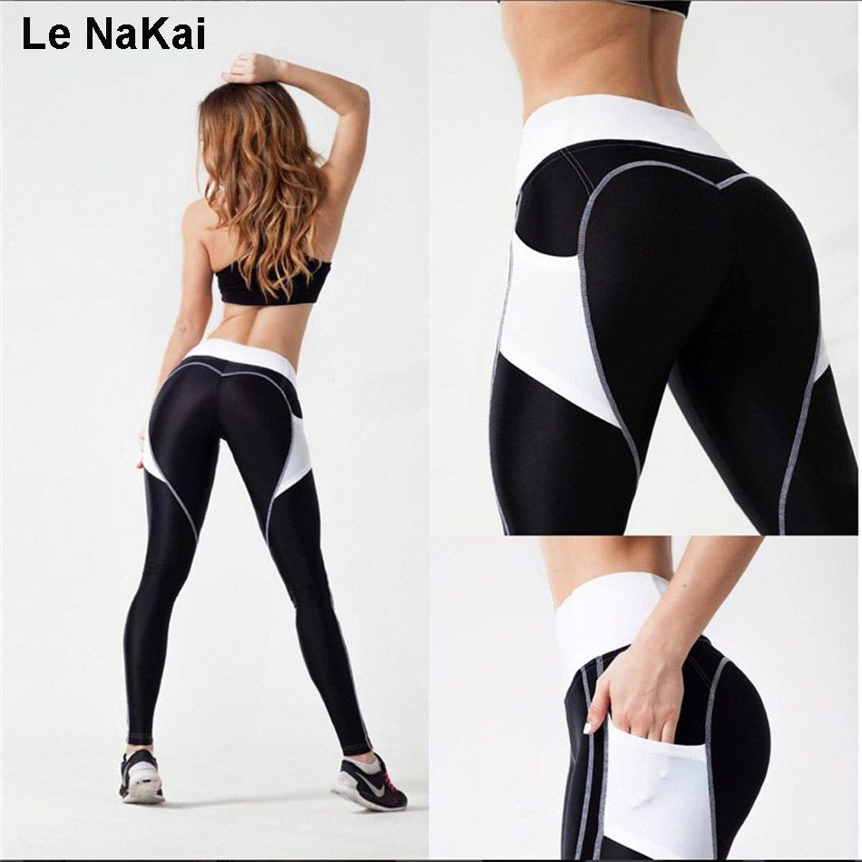 d56bfddf55c0d Heart Booty Pattern Sexy Women Yoga Pants Fitness Gym Tights With Side Mesh  Pocket Contrast Color Yoga Legging Running Trousers