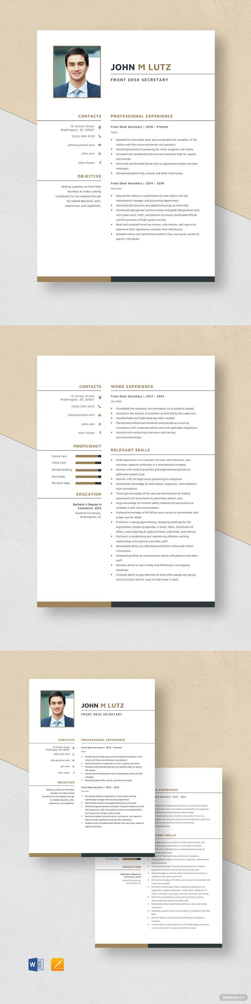 Front Desk Secretary Resume Template in 2020 Graphic