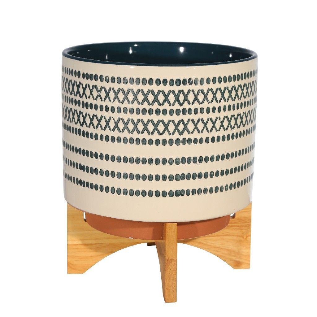 Ceramic 11 5 Planter On Stand W Dots Blue Sagebrook Home 14759 03 In 2020 Sagebrook Home Colorful Interiors Ceramics