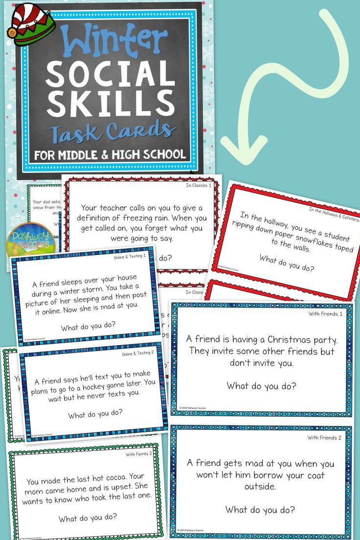 winter social skills task cards for middle and high school favorites from teachers pay. Black Bedroom Furniture Sets. Home Design Ideas