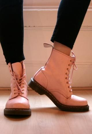 Light Pink Dr Martens Airwair Leather