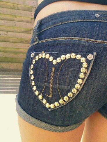 Idea para decorar short con tachuelas decorar ropa y costura ropa ropa reciclada y jeans - Decorar pantalones vaqueros ...