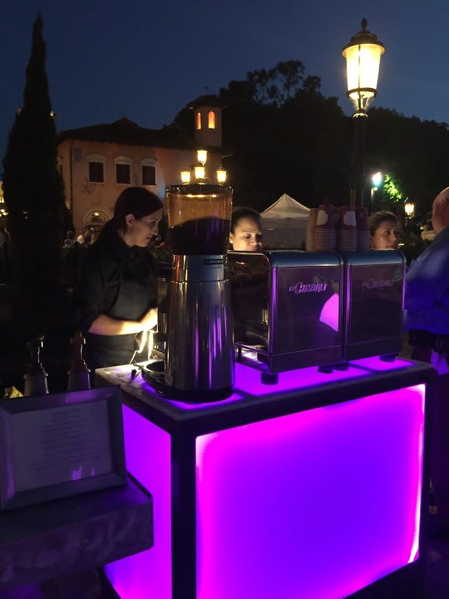 Elegant espresso bar and barista service serving coffee in Epcot Center in Walt Disney World