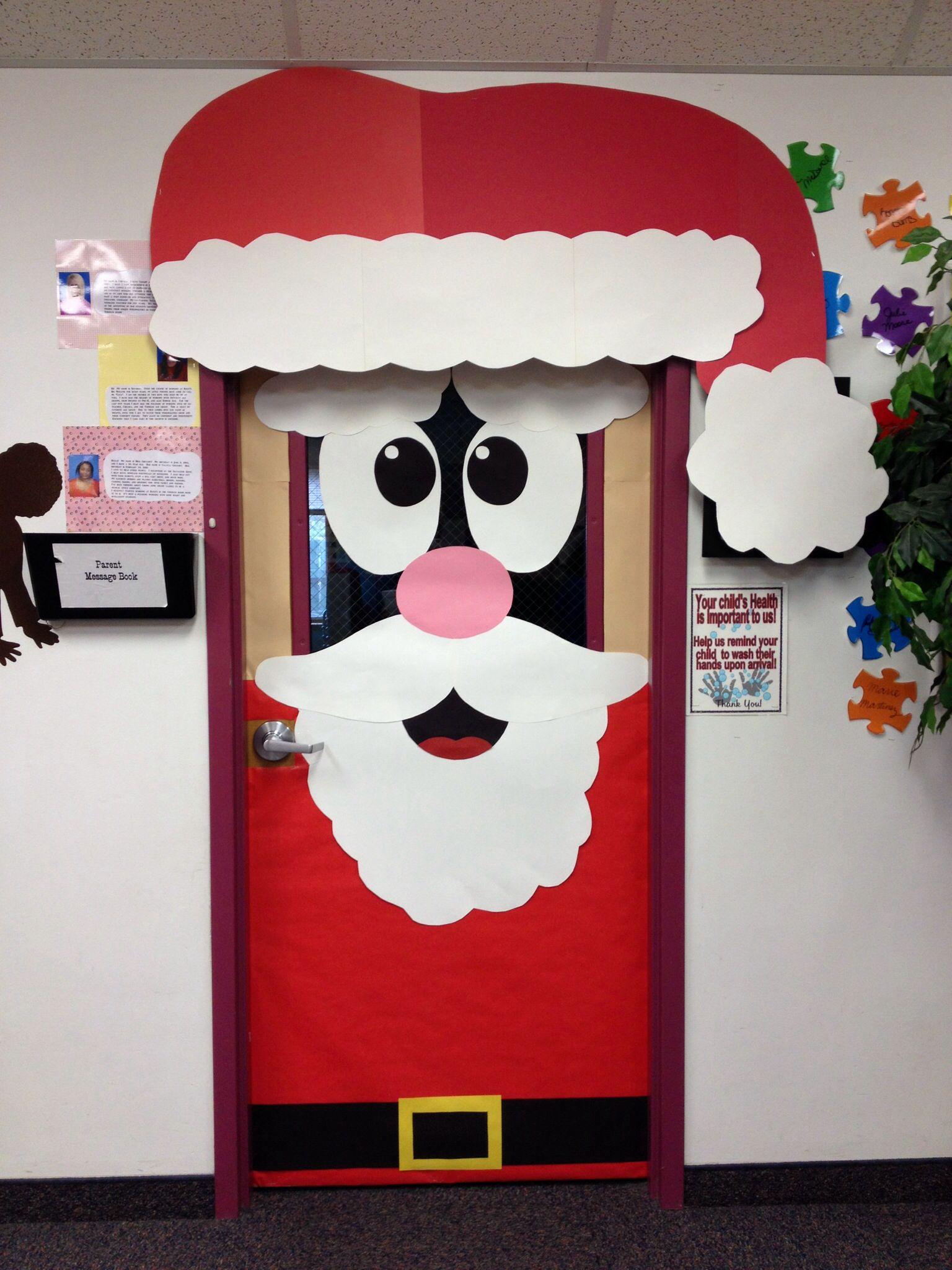Puerta papa noel navidad pinterest papa noel noel y - Adorno puerta navidad ...