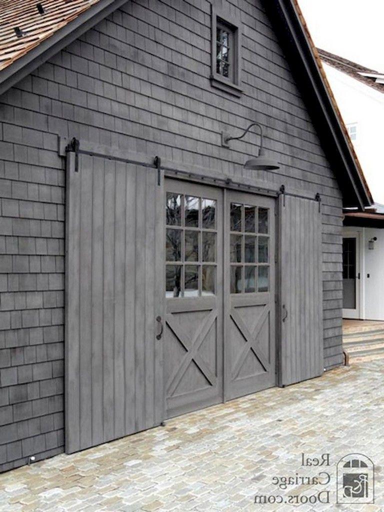 90 Rural Sliding Barn Doors Design Ideas Farmhouse In 2020 With Images Exterior Barn Doors Barn Garage Barn Door Garage