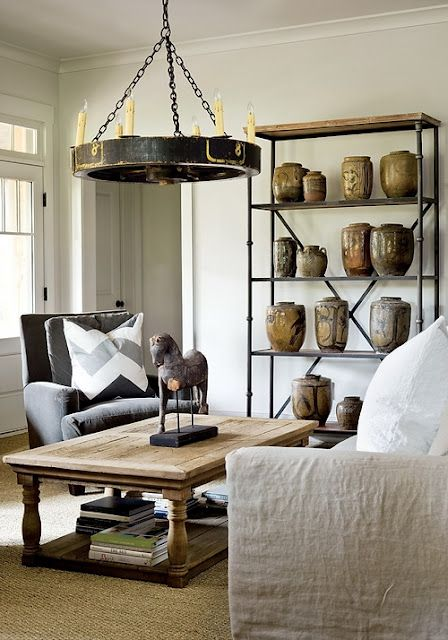 pleasing space with pottery collection...