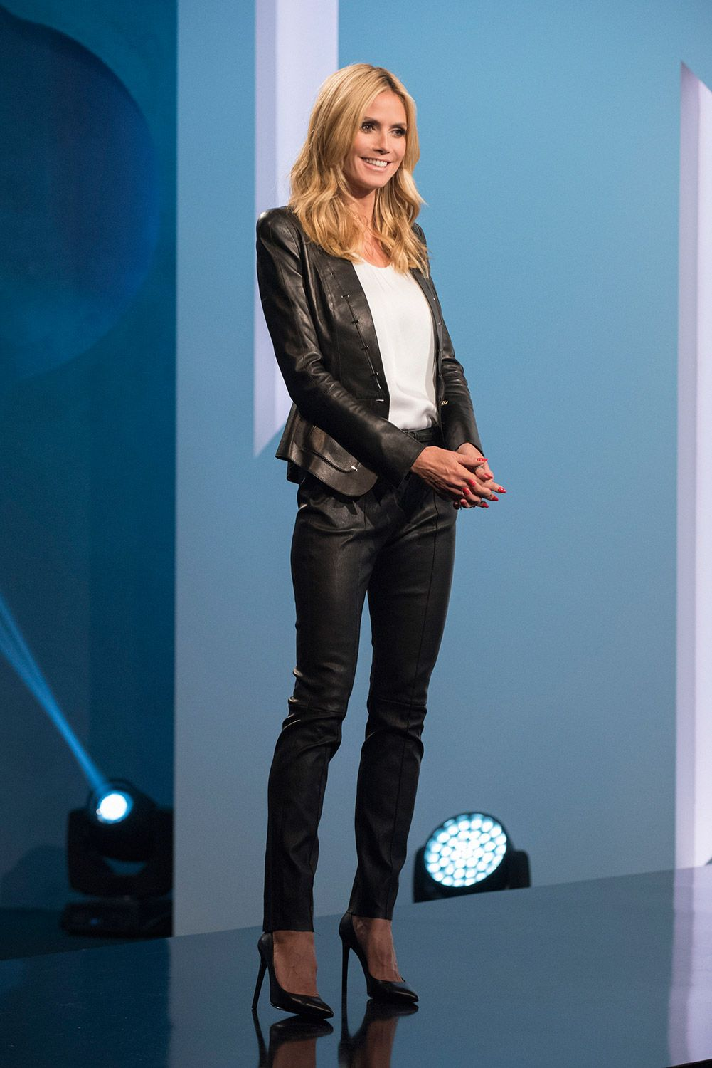 c82aa87f19 Heidi Klum s all leather look this week on Project Runway.