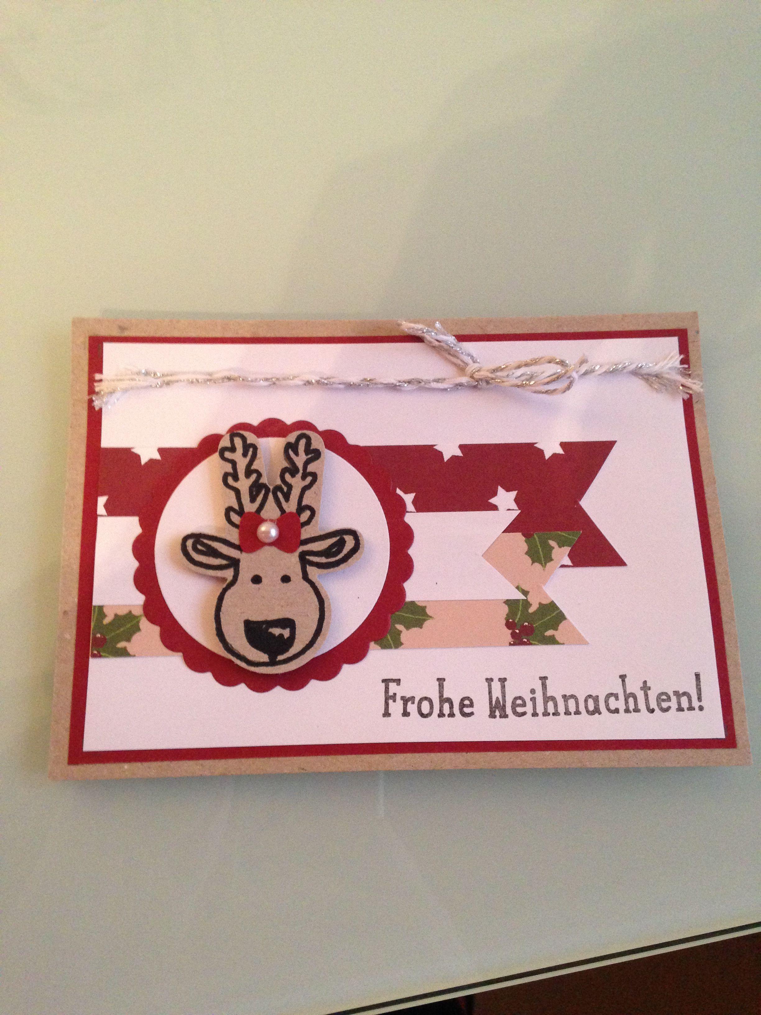 Stampin Up! Weihnachtskarte Rentier rot