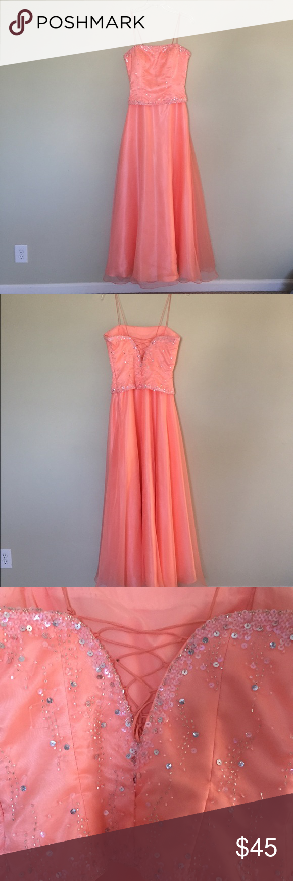Coral Sparkly Gown Dress/ Prom Dress
