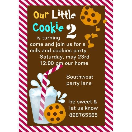 Cookies and Milk Birthday invitation milk cookie Printable – Cookie Party Invitation Wording