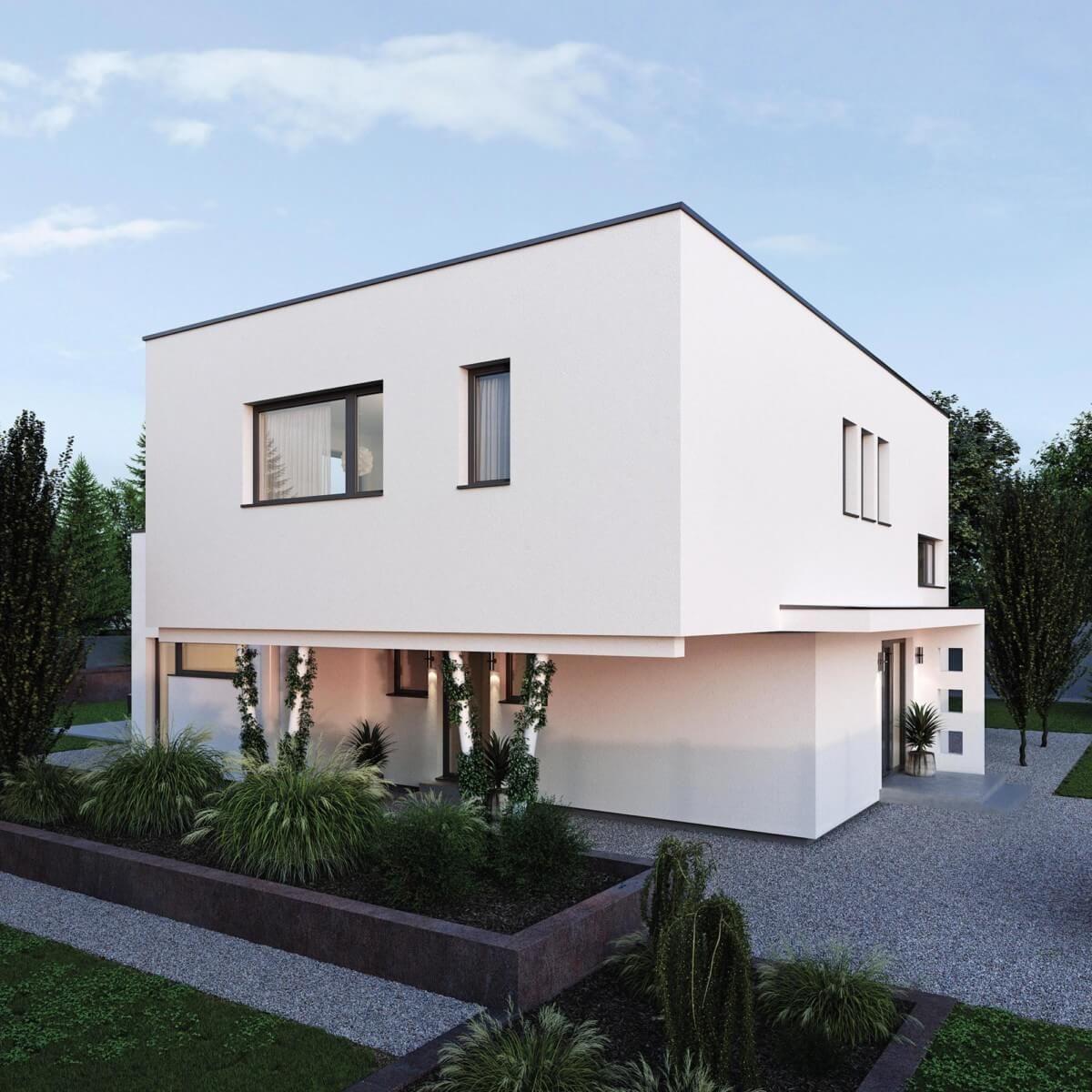 Stadtvilla Modern Im Bauhausstil Mit Flachdach Architektur Carport