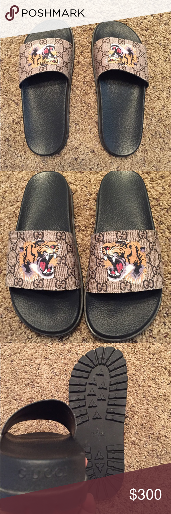 15f91427d491 Gucci Tiger slides Size 9 Slightly used. Worn a few times. Great condition.  9 out of 10. Comes with dust bag Gucci Shoes Sandals   Flip-Flops