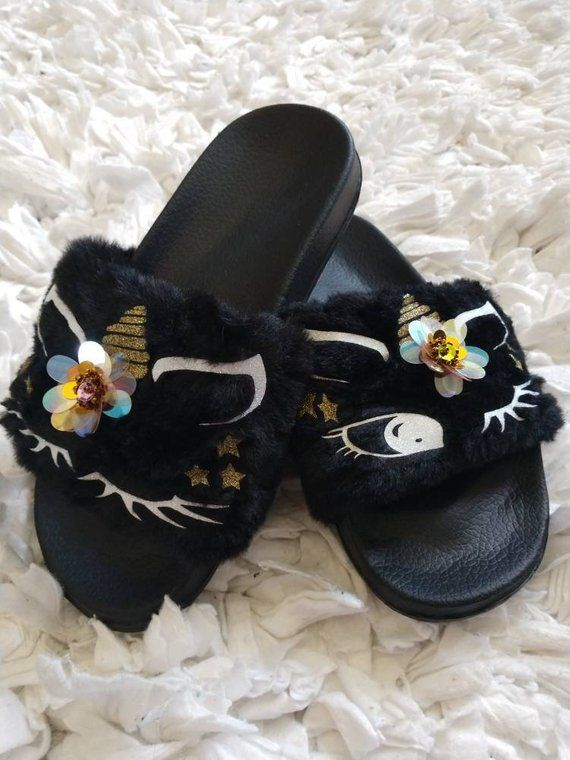 2eede89d41d Black Unicorn Slippers  Unicorn slippers  Kids fur slides  Kids ...