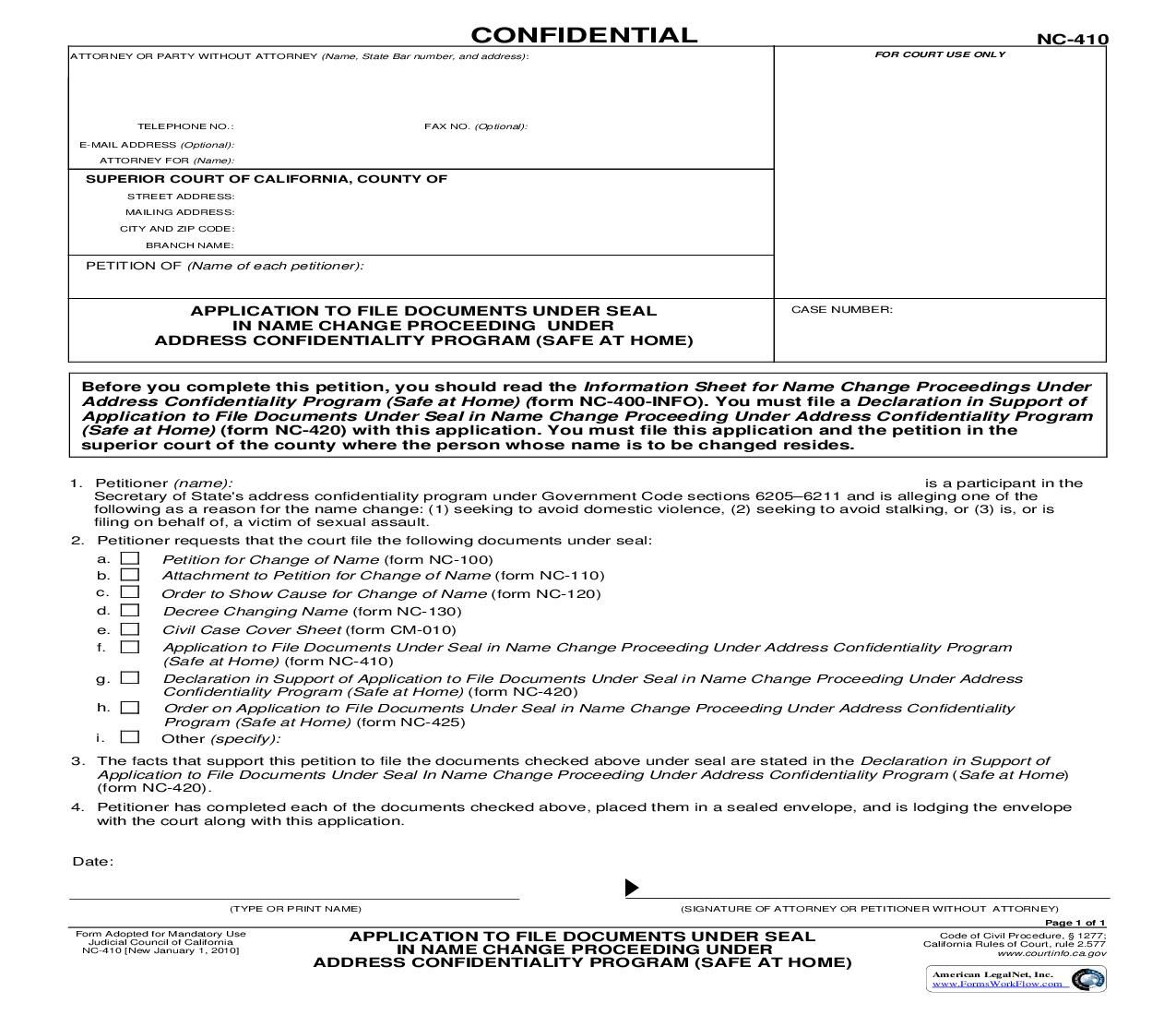 Application To File Documents Under Seal In Name Change Proceeding Name Change Names Application