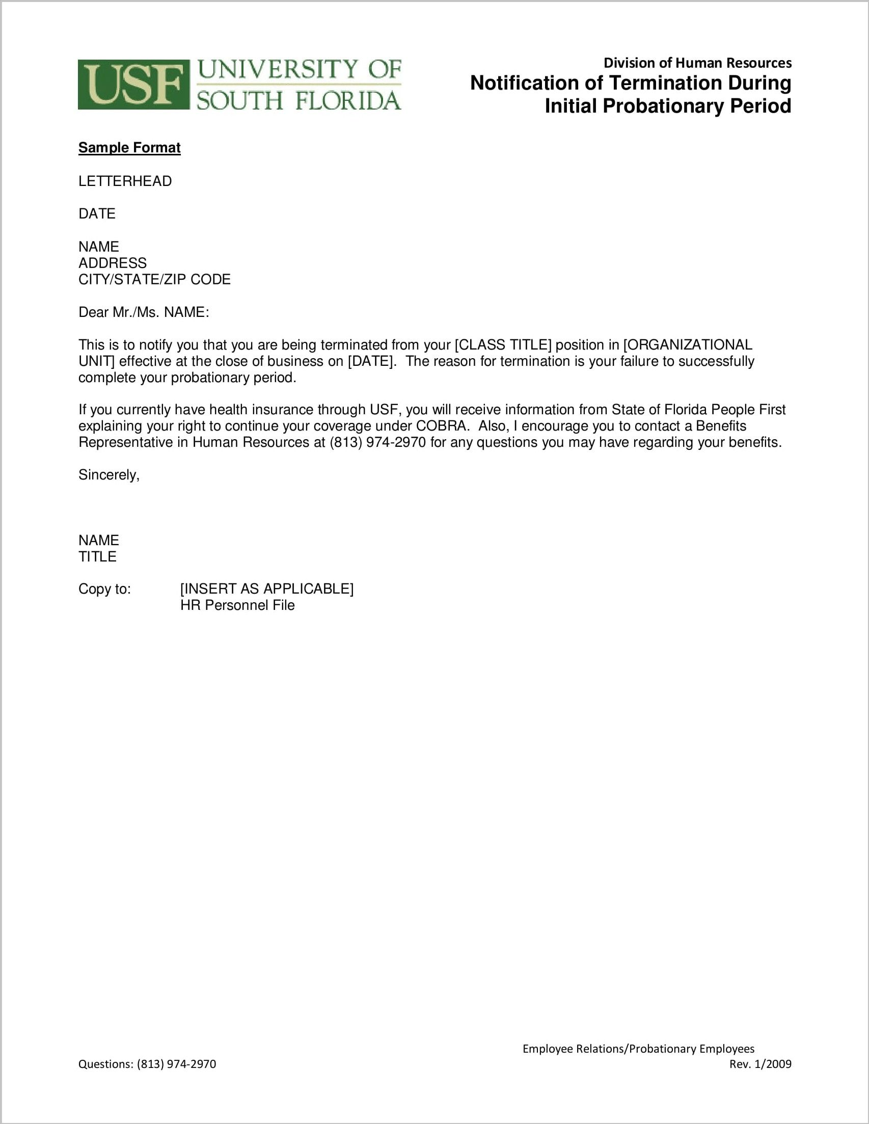 The Best Sample Termination Letter Within Probationary