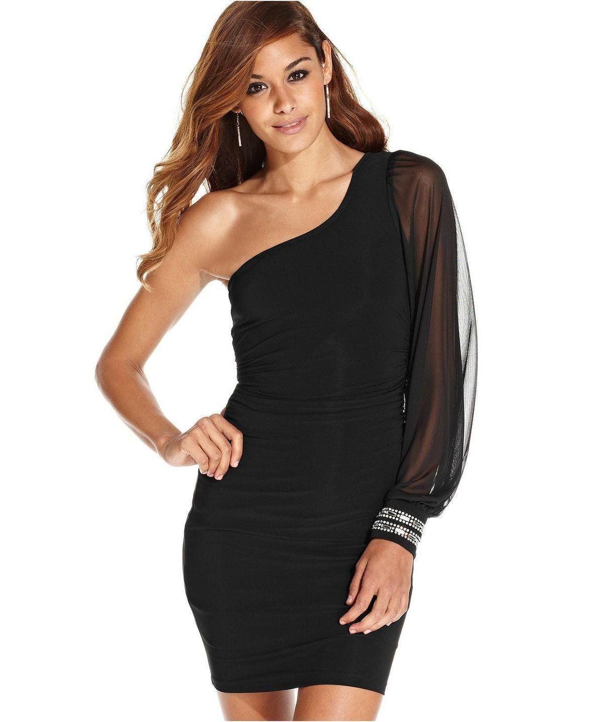 One shoulder black dresses for juniors | Color dress | Pinterest ...