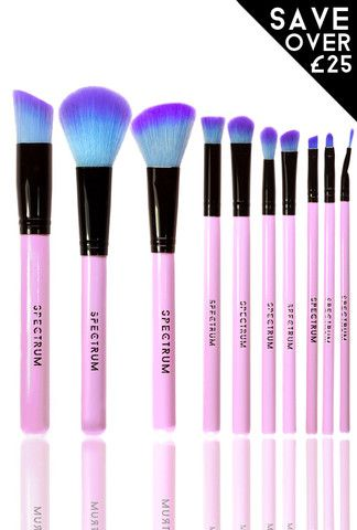 10 piece essential set  fine eyeliner pink makeup brush