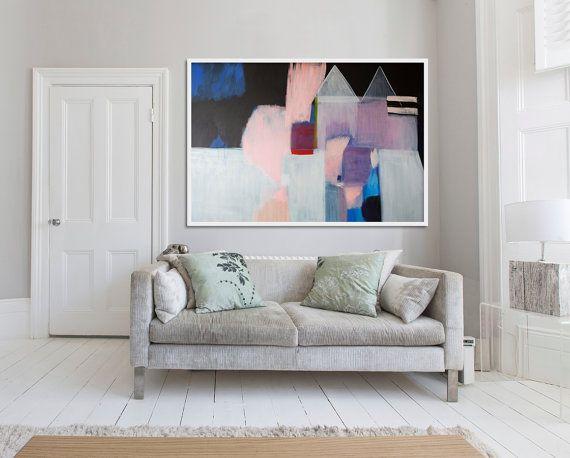 "large ABSTRACT ORIGINAL, original painting, Lola Donoghue, blue, black, pink, ""Crown Me' /////RESERVED\\\\\\"
