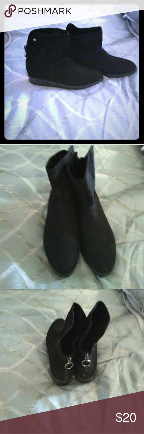 Black ankle boots Black ankle boots never worn. Took a size 8 and a size 7 to register so clerk could scan 7 and I'd get the 8.Long story short she put wrong boots in my bag.  Bought them on vacation so couldn't return them Shoes Ankle Boots & Booties