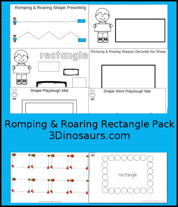 Free Romping & Roaring Rectangle Pack | Activities, Shapes ...