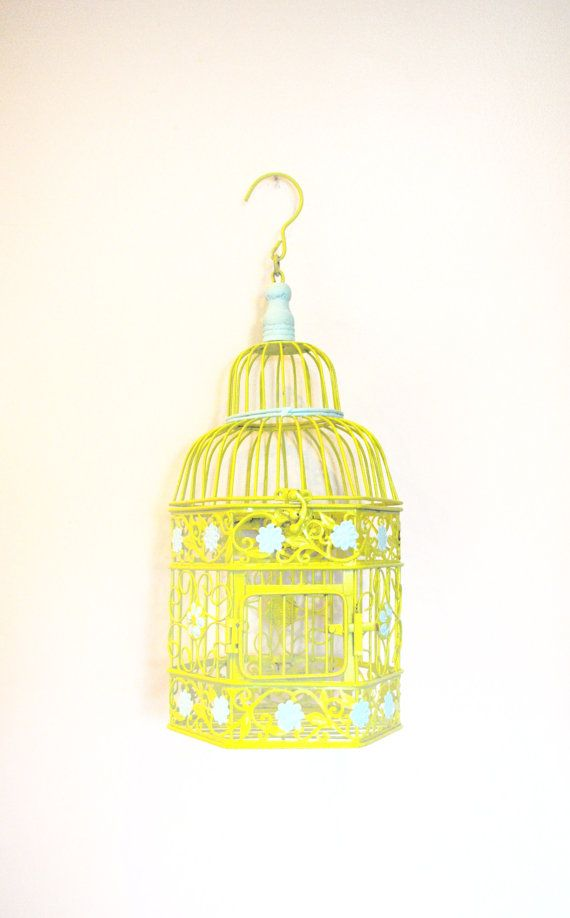Aqua and Lime Green Birdcage  Wedding Nursery by brideystreasures, $45.00