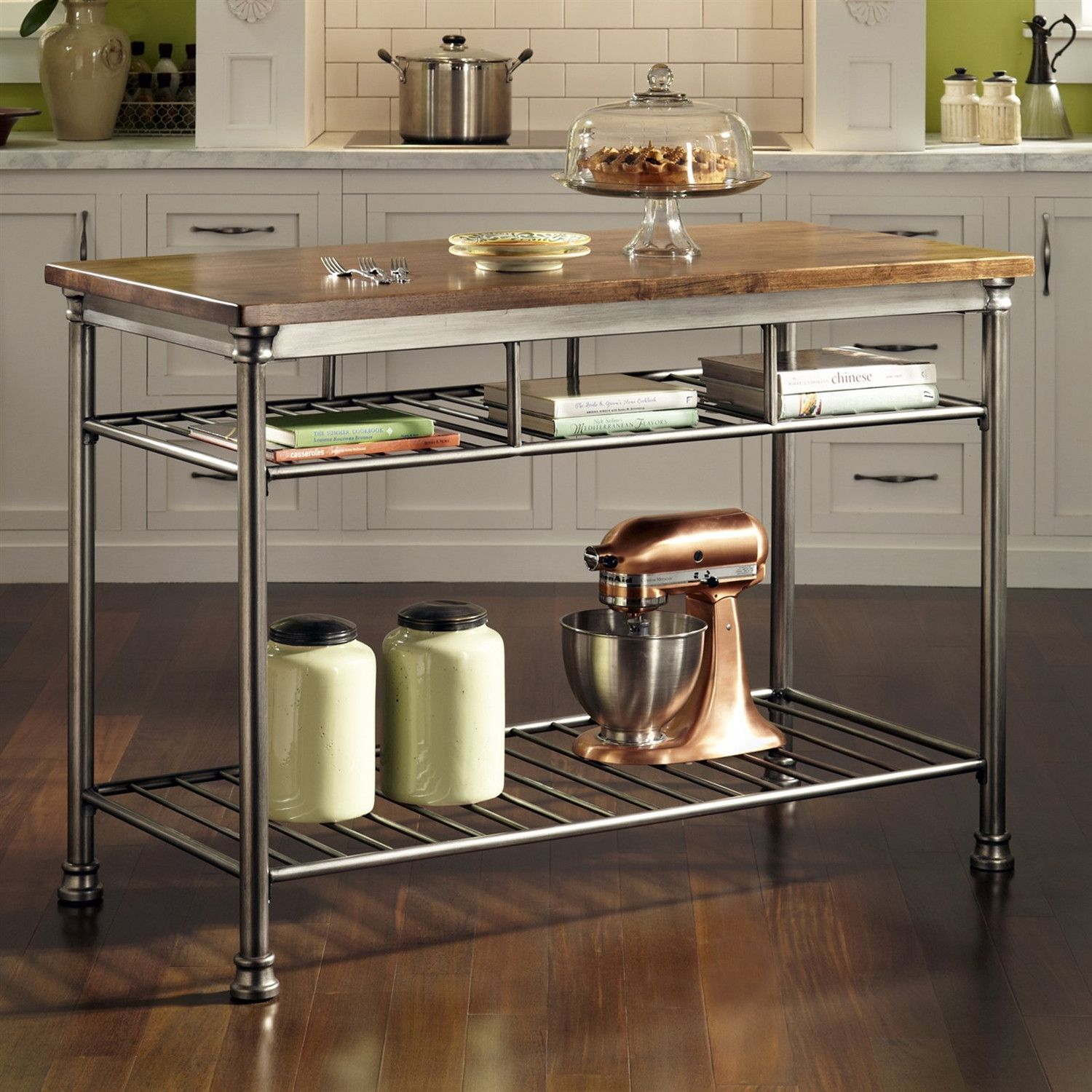 Clic French Style Hardwood Butcher Block Top Metal Kitchen Utility Table