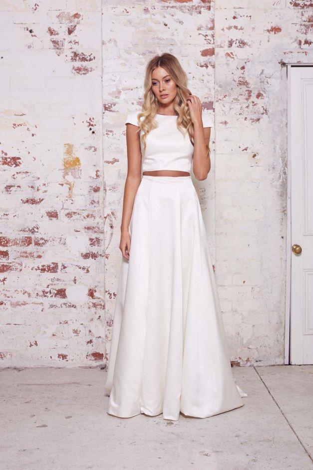 Simple Bridal Separates Casual Wedding Dress Two Piece Wedding Dress 2 Piece Wedding Dress