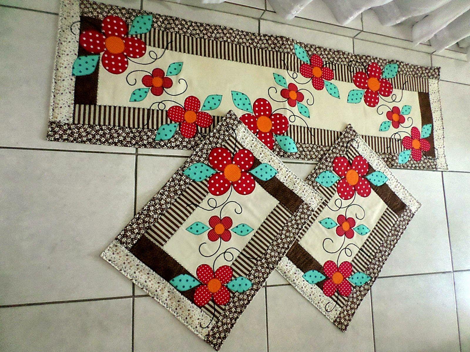 Artesana Artesanatos Jogo De Tapetes Para Cozinha Costura  -> Tapete De Tecido Para Cozinha