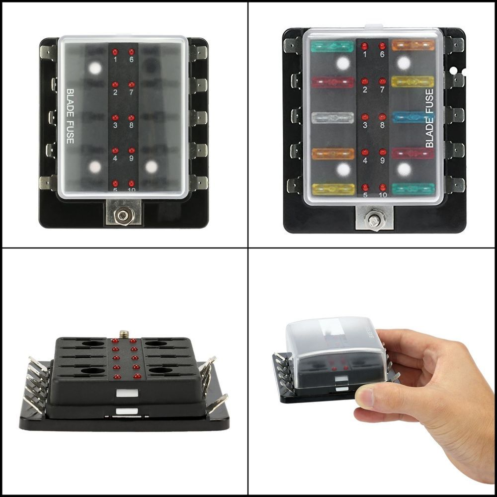 Circuit 10 Way Blade Fuse Box Holder with LED Light for
