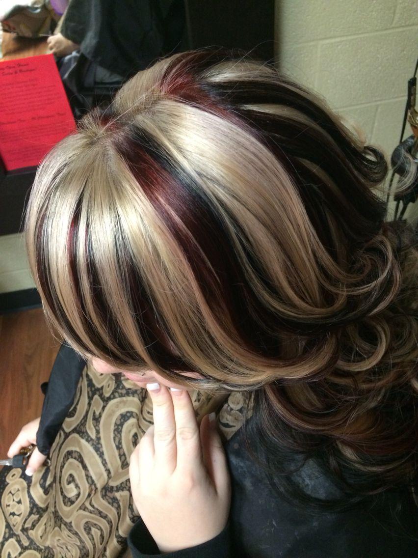 Hair Chunky Highlight Red Black Blonde Hair By Crystal Goodman Hair Styles Hair Chunky Highlights