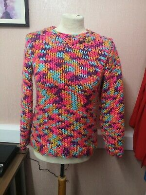 (Advertisement)eBay- Hand knitted multicoloured jumper, size 8-10, chunky knit #chunkyknitjumper