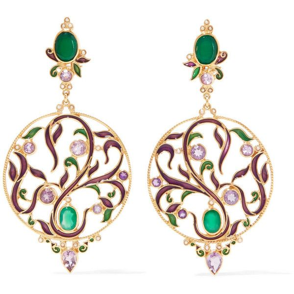 Gold-plated And Enamel Multi-stone Earrings - Green Percossi Papi