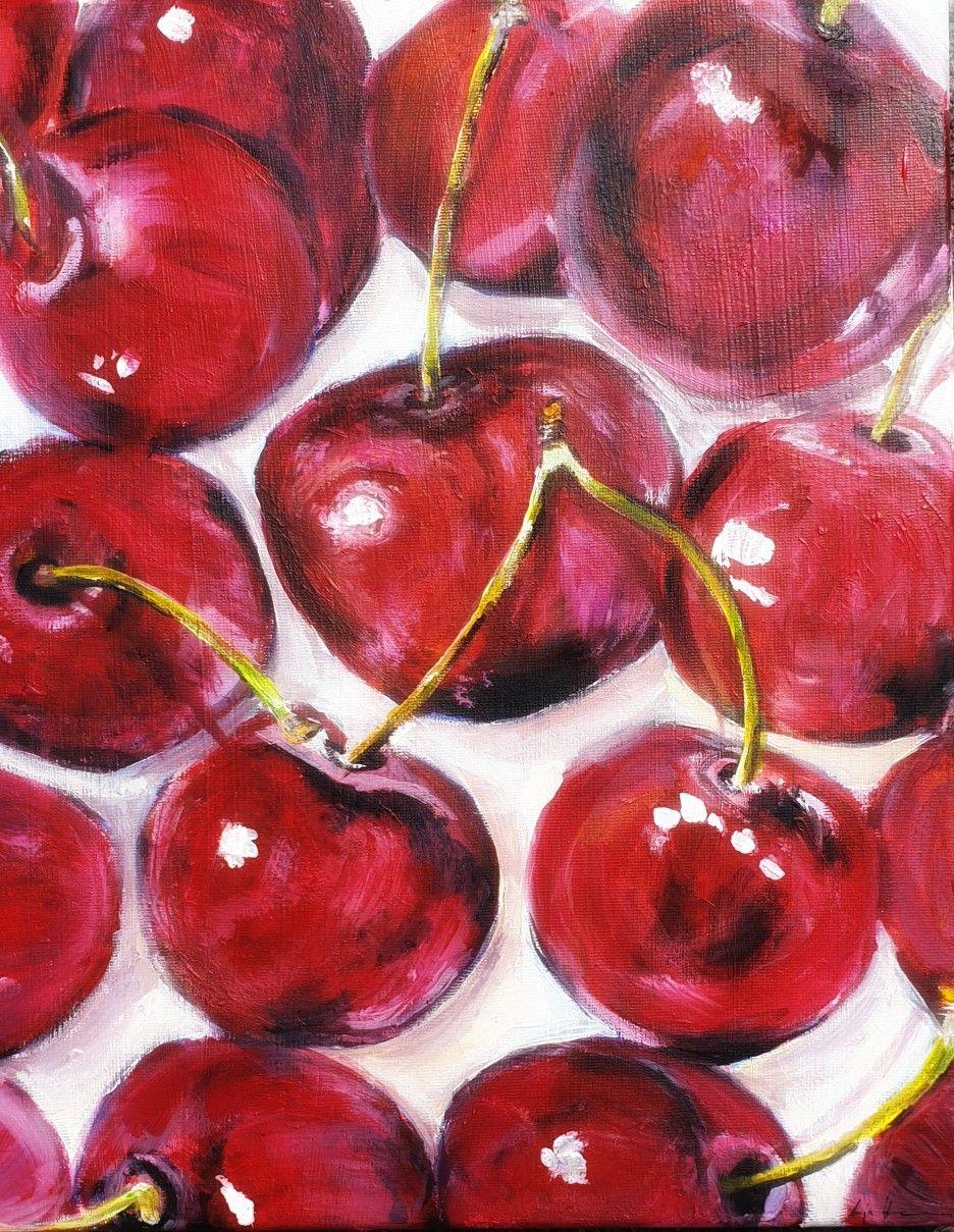 cherry acryl painting 30x40 auf leinwand von anja hinzmann poster fotoleinwand online bestellen