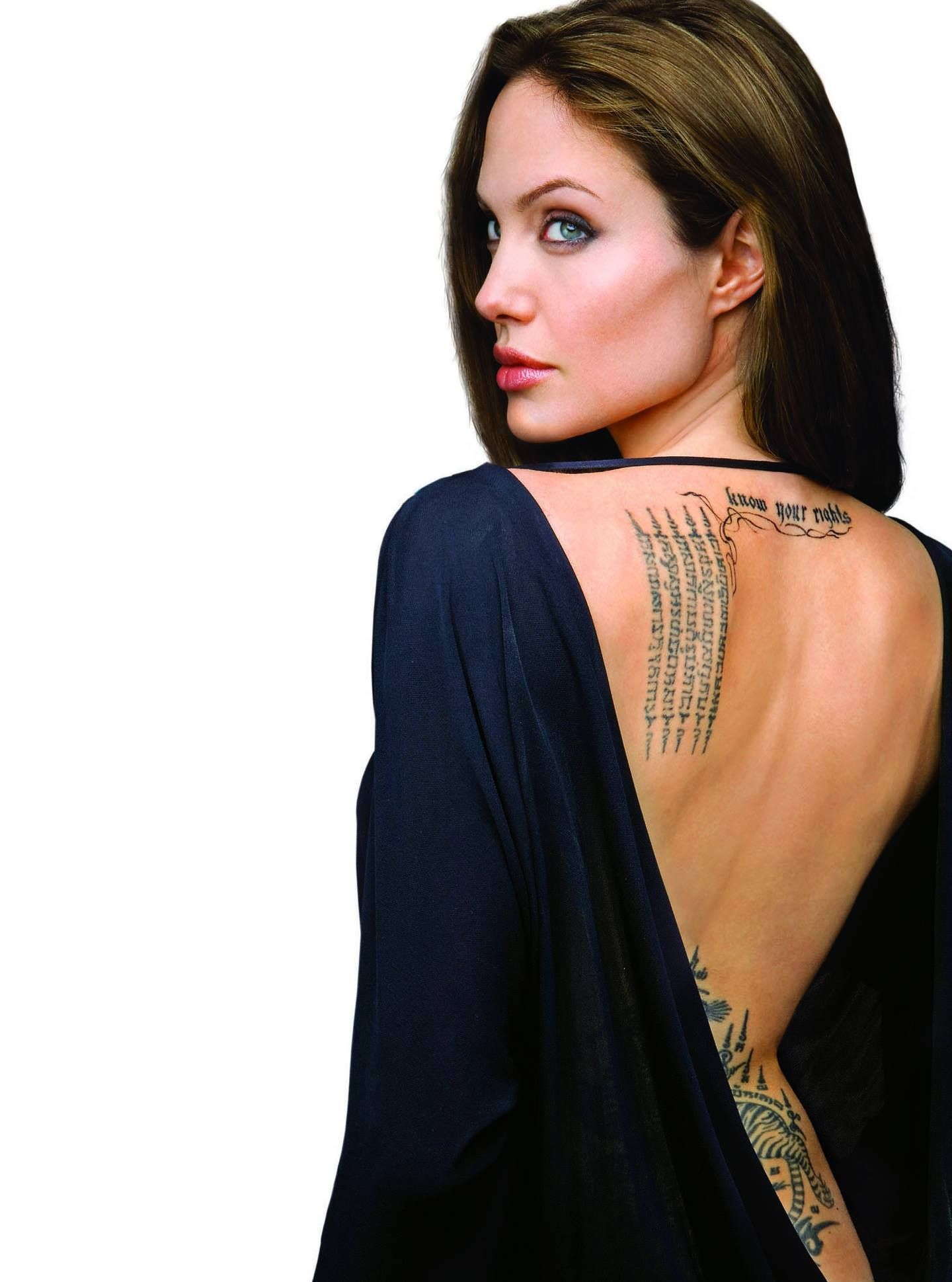 Angelina Jolie with Thailand tattoo.   Angelina Jolie ...