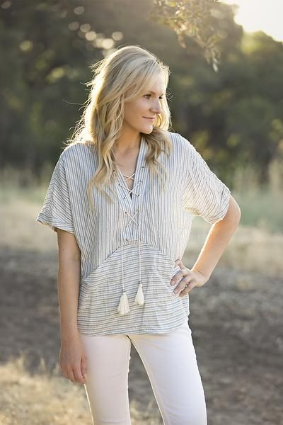 Lizzie & Mae - Lace Up Poncho Top