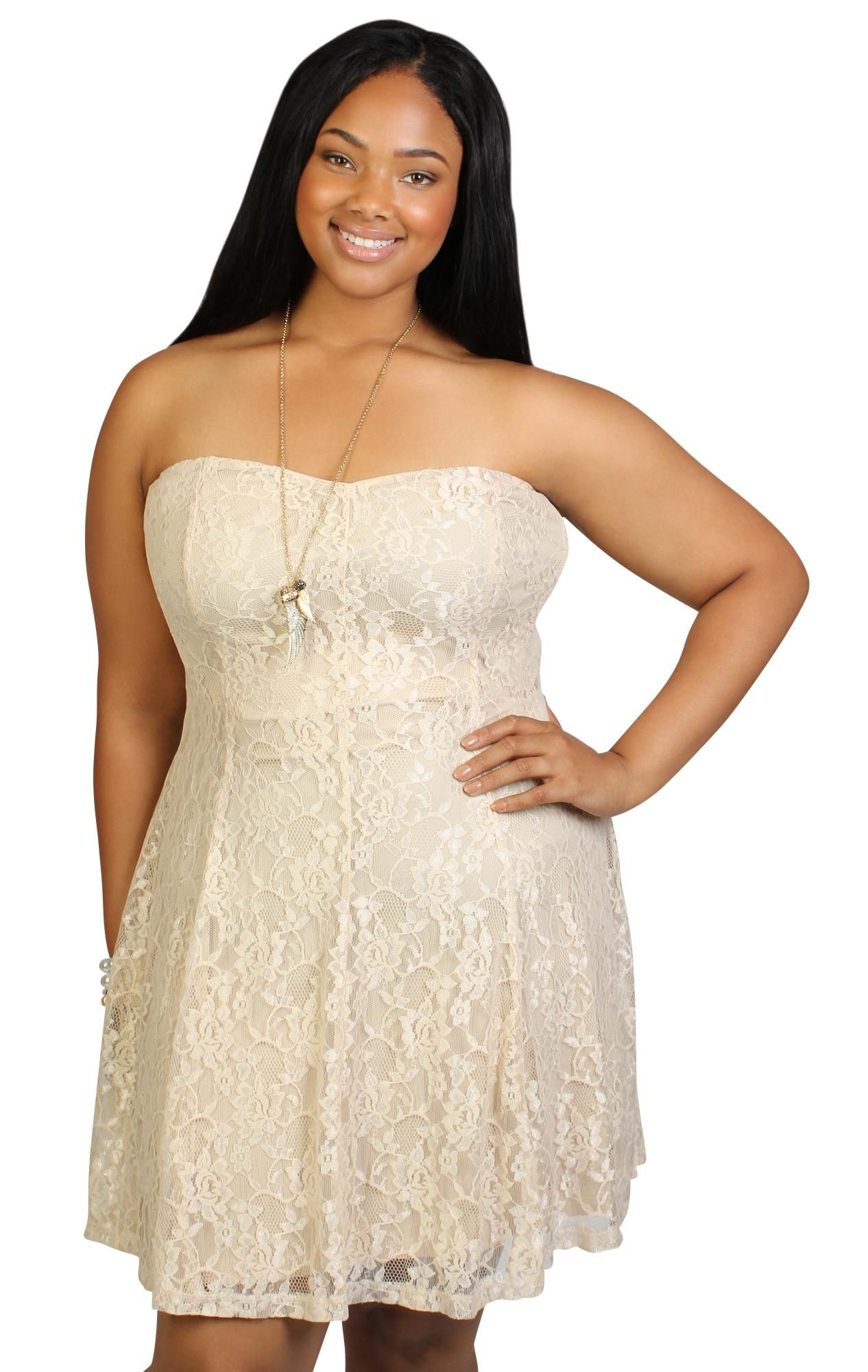 Plus size lace strapless skater dress vicki wilson will this do