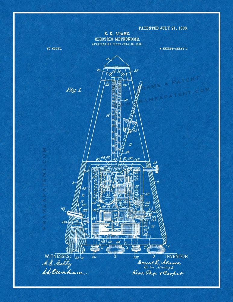 Electric Metronome Patent Print - Blueprint with Border (5x7