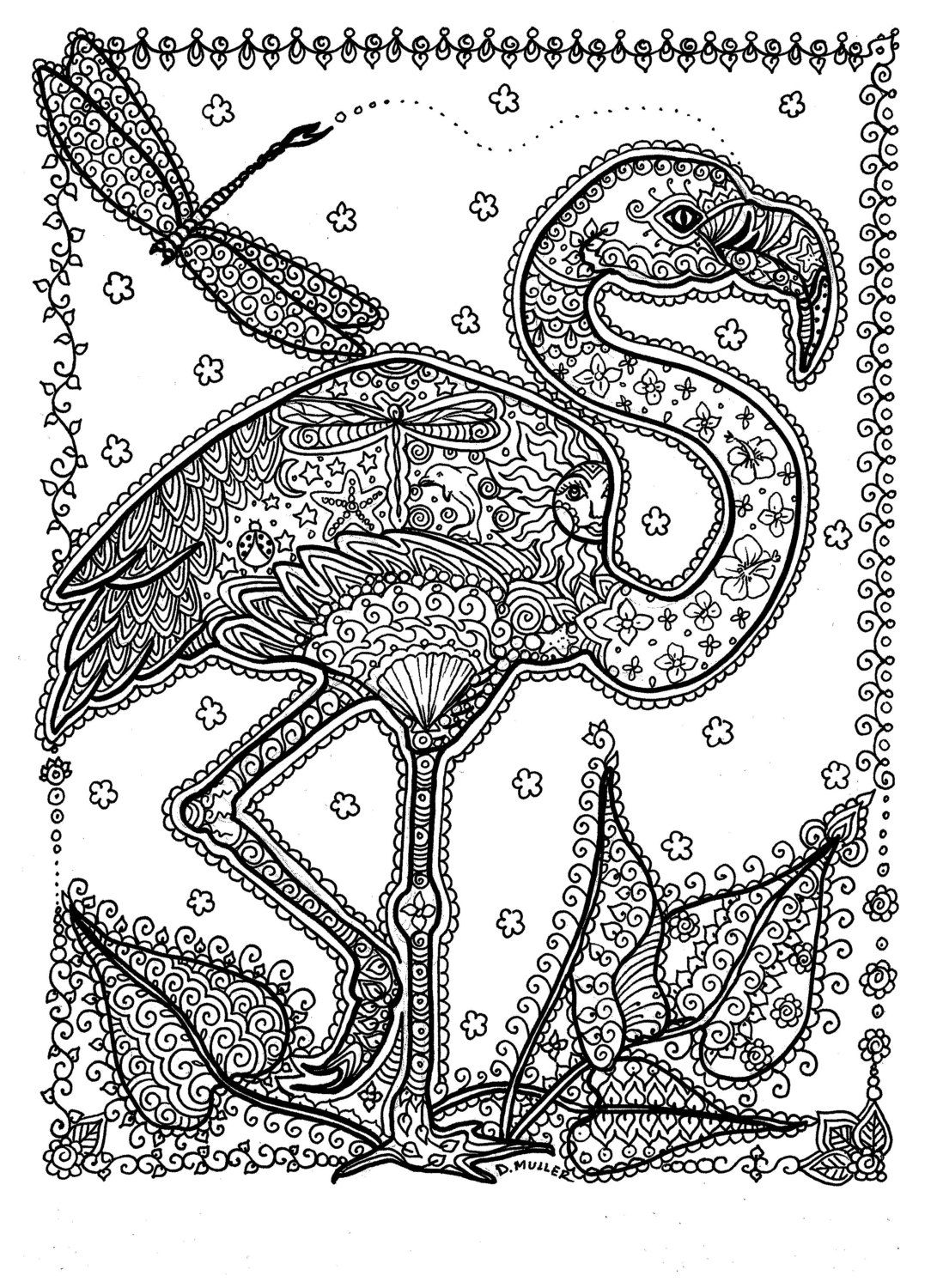 Instant Download Coloring Page Adult Coloring Flamingo ...