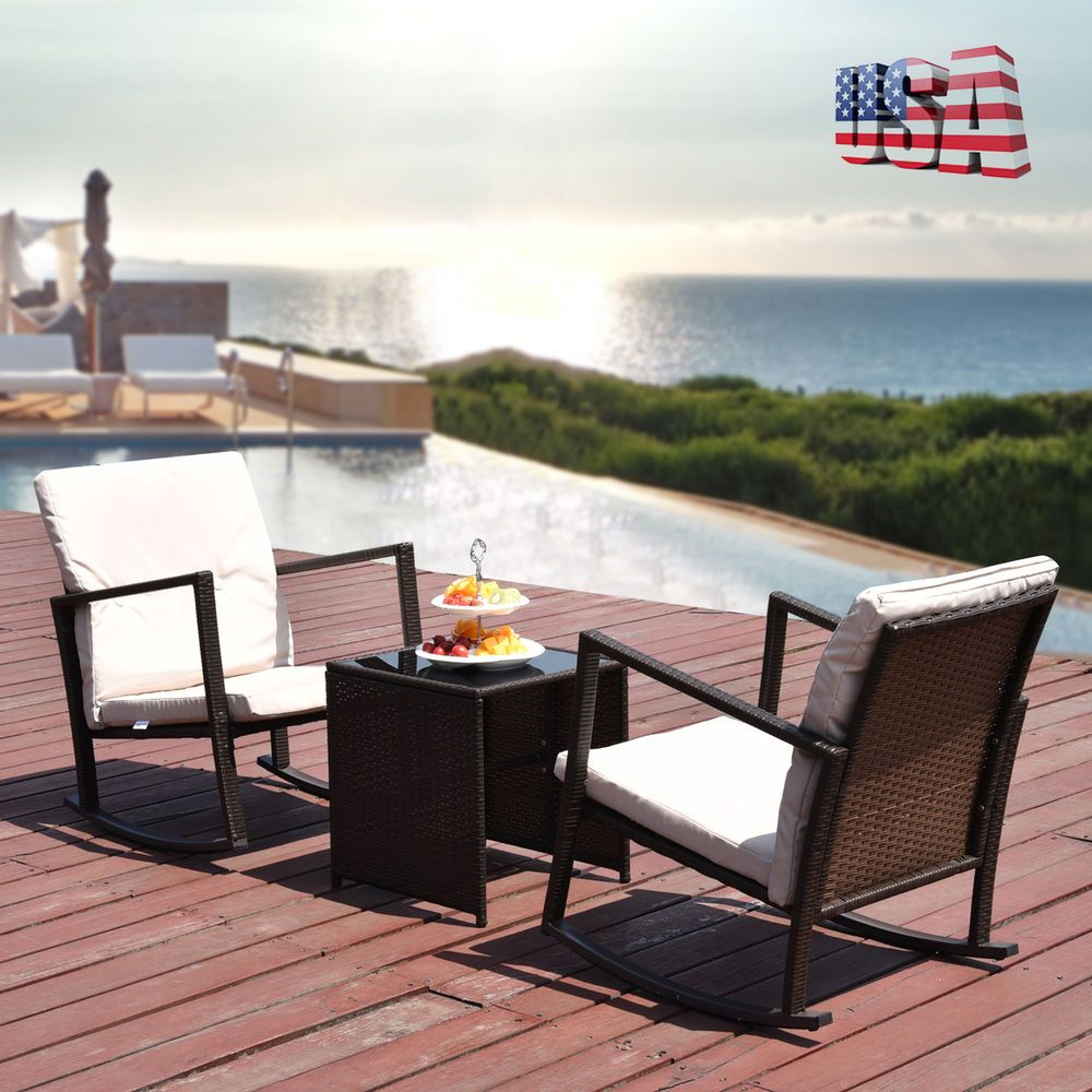 pc outdoor rattan wicker patio set cushioned seat table garden