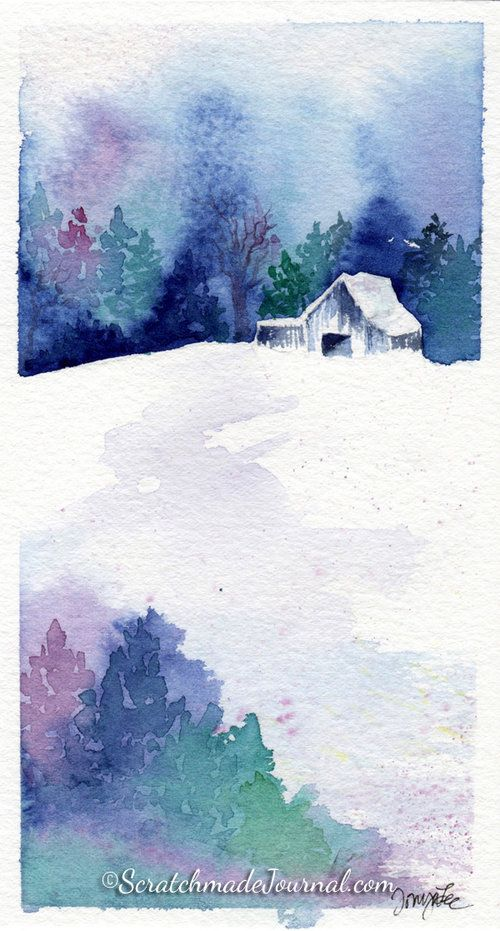 10 Minute Winter Woodland Watercolor Tutorial Arbres En