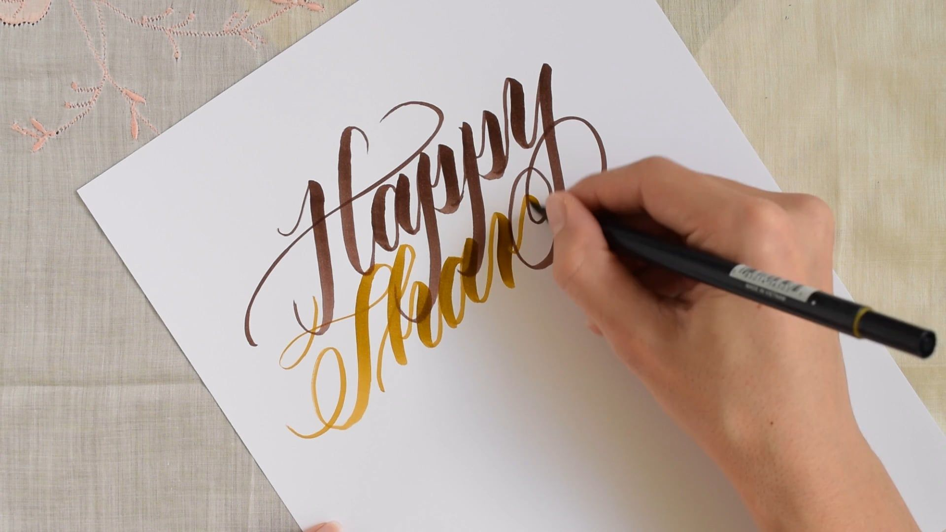 """Writing """"Happy Thanksgiving"""" with a Brush Pen"""